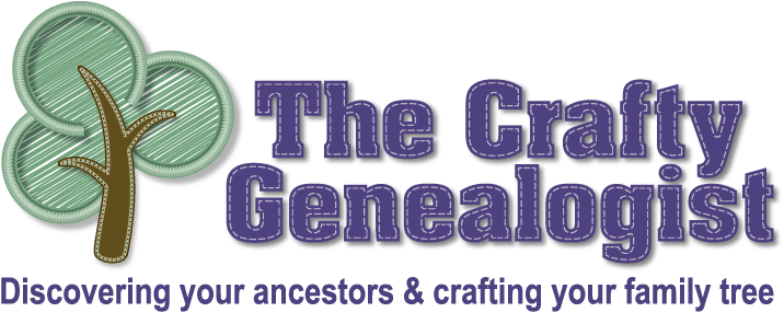 The Crafty Genealogist logo with strapline in purple text