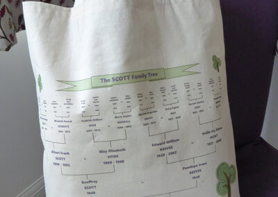 Personalised tote bag with family tree