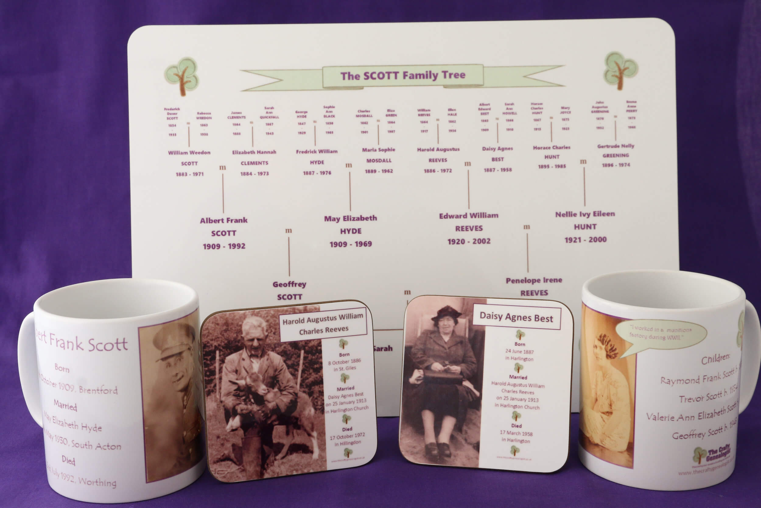 Family Tree table mats, mugs and coasters