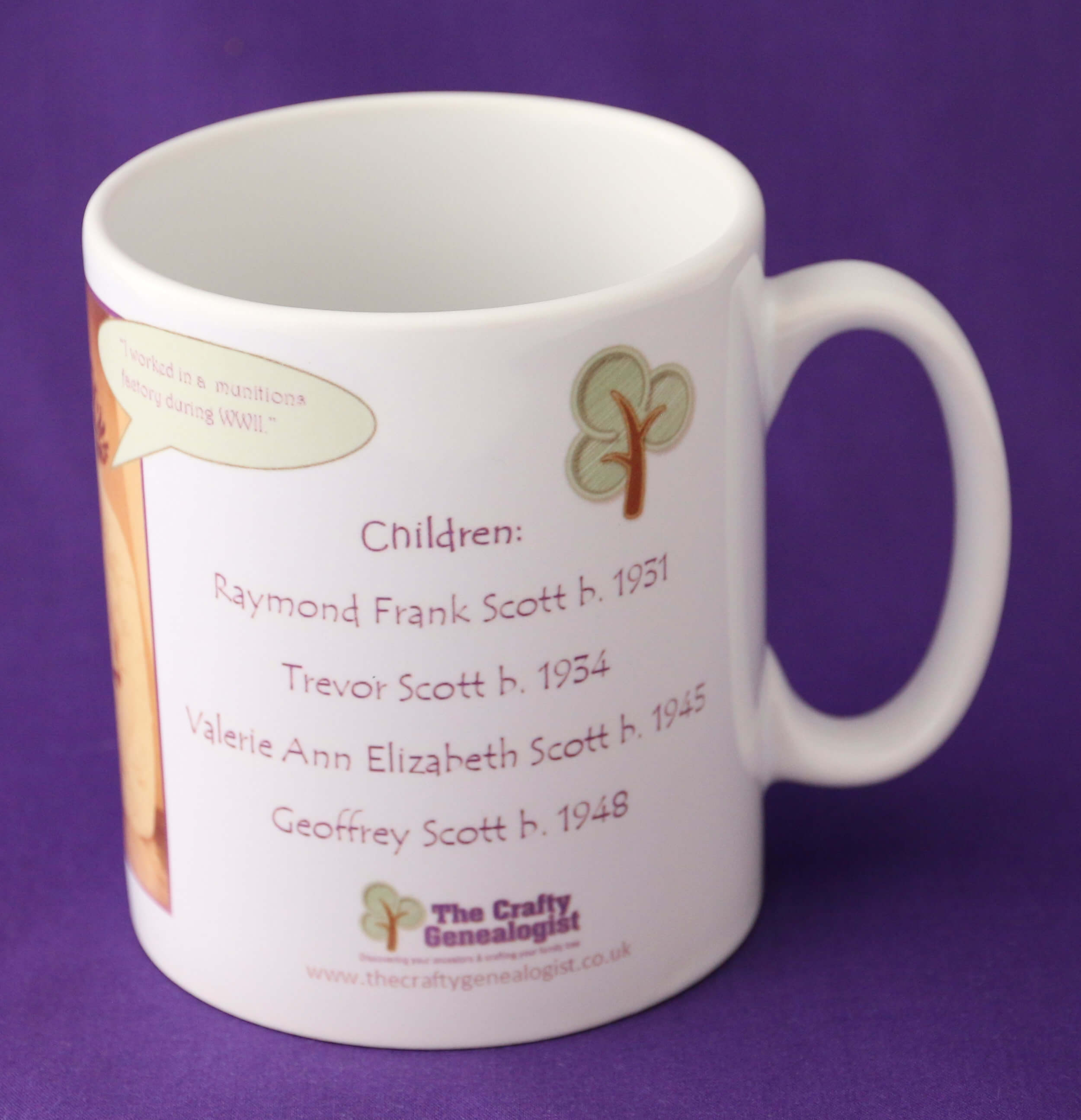 Family Tree Mug personalised with your Ancestor's photograph, name, dates and names of their children
