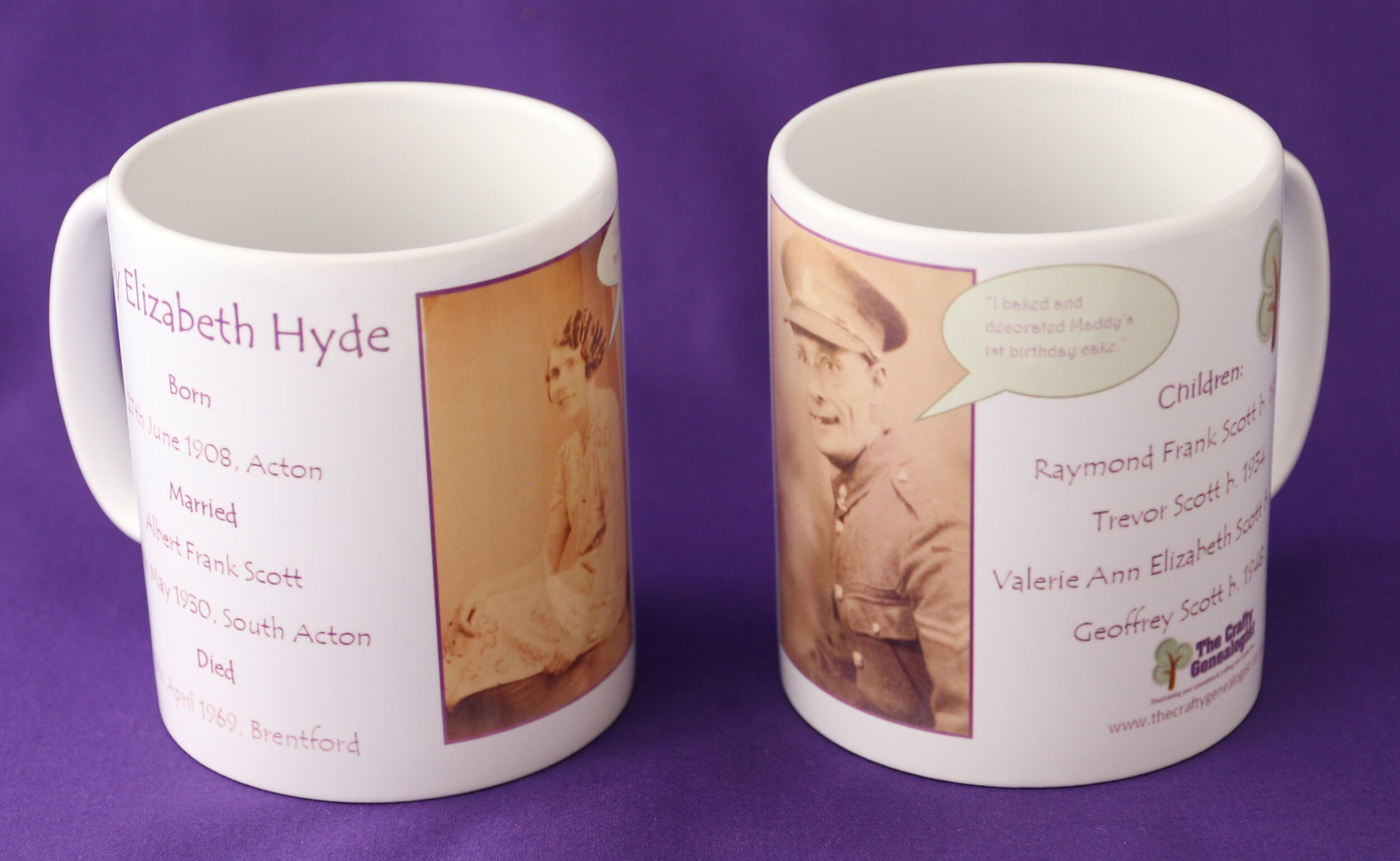 Family Tree mugs personalised with your ancestor's photograph, name, dates and the names of their children