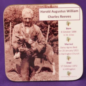Family Tree Coaster personalised with your ancestor's photograph, names, dates and the names of their children