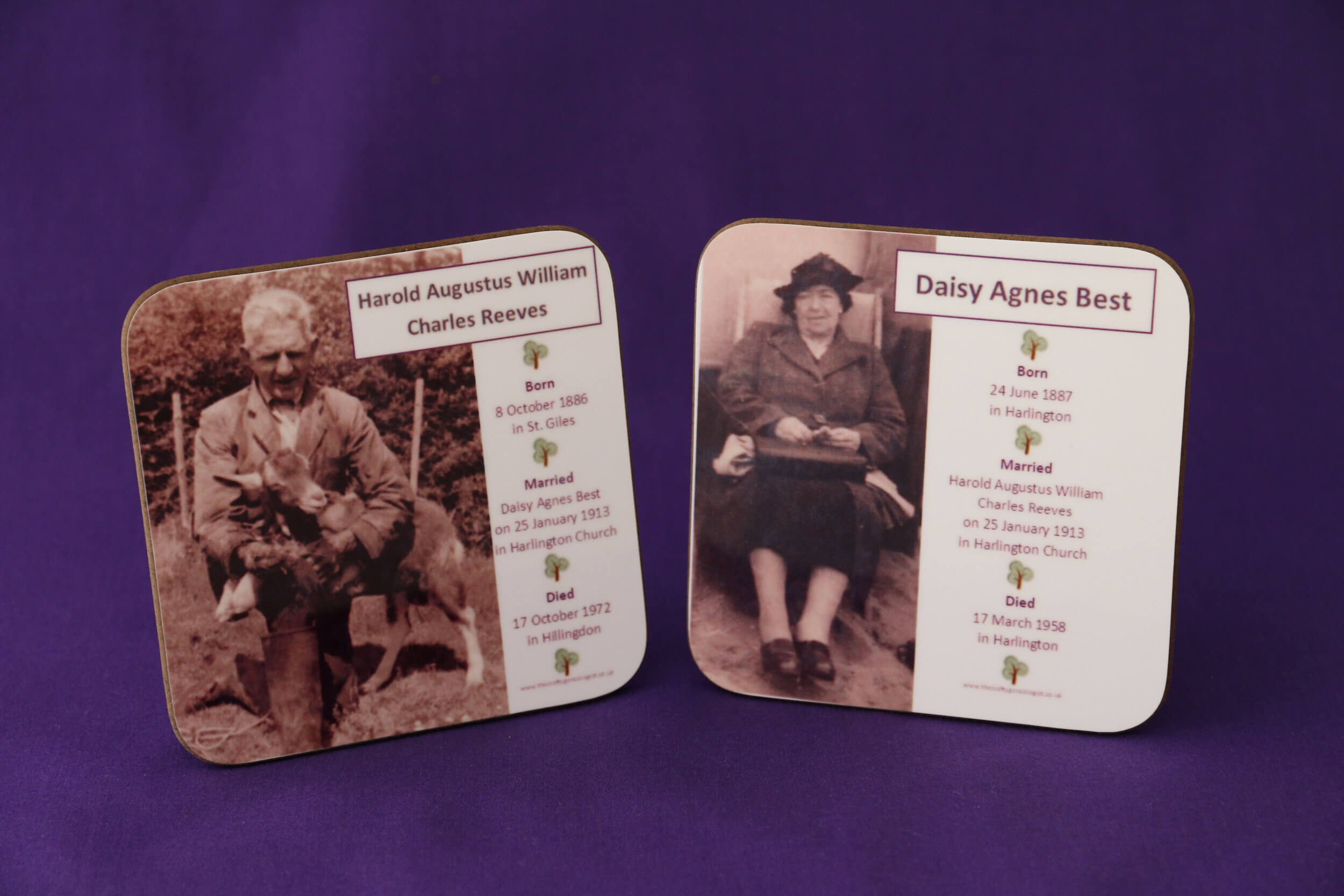 Family Tree coasters personalised with your ancestor's photograph, name and dates