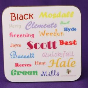 Ancestors' Surnames coaster