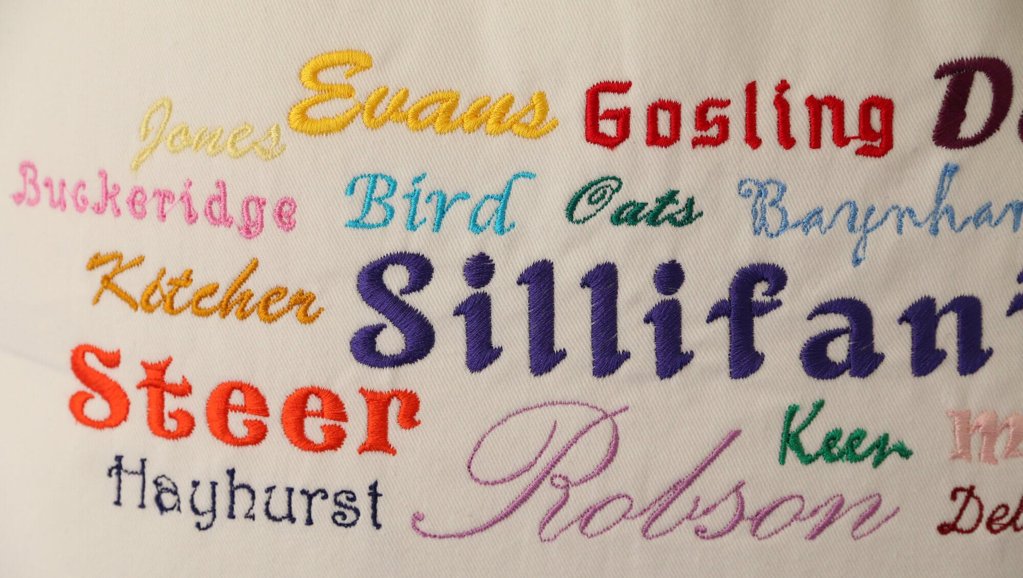 Close up of Ancestors' Surnames Bag (embroidered)