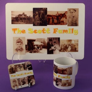 Family Photos on a table mat, mug and coaster