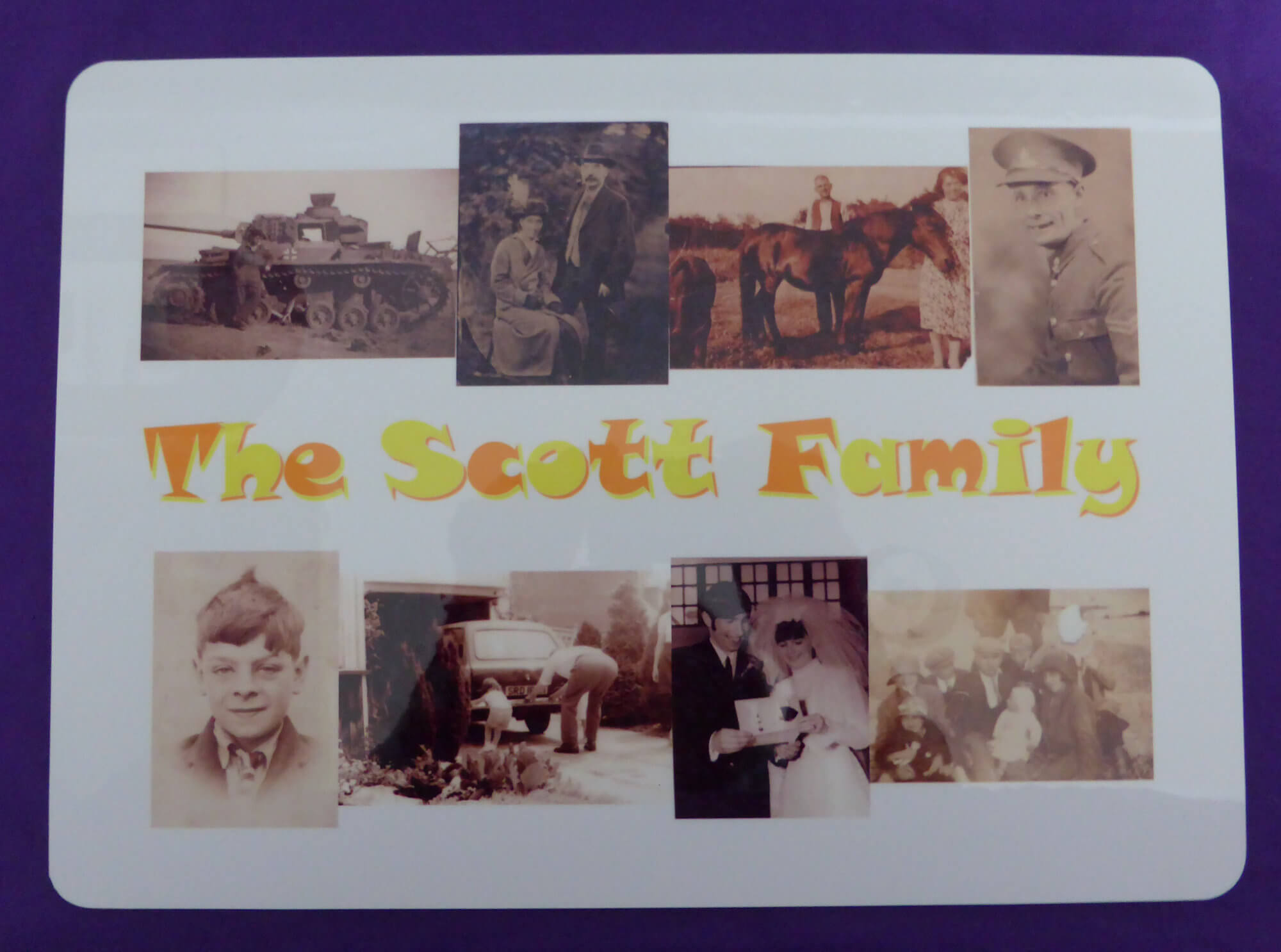 Family Photos table mat showing photos your family and your family name