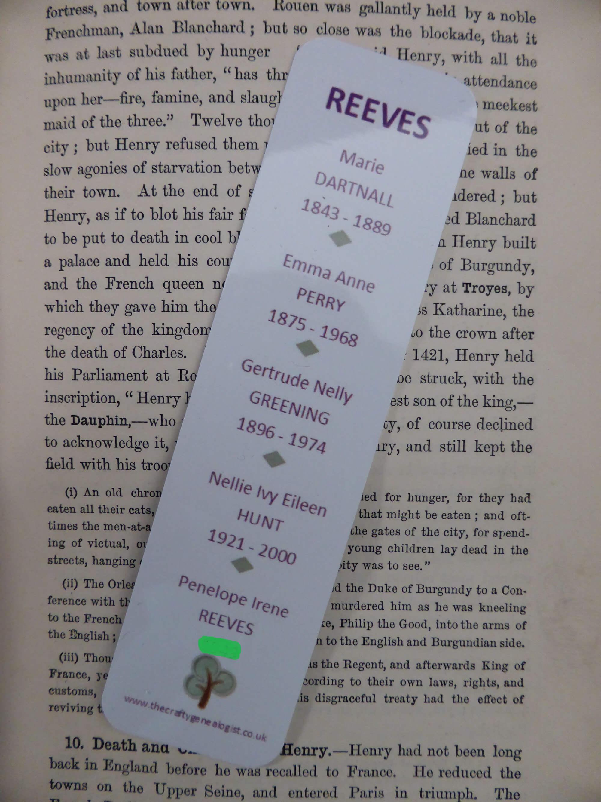 Ancestor's Bookmark (printed)