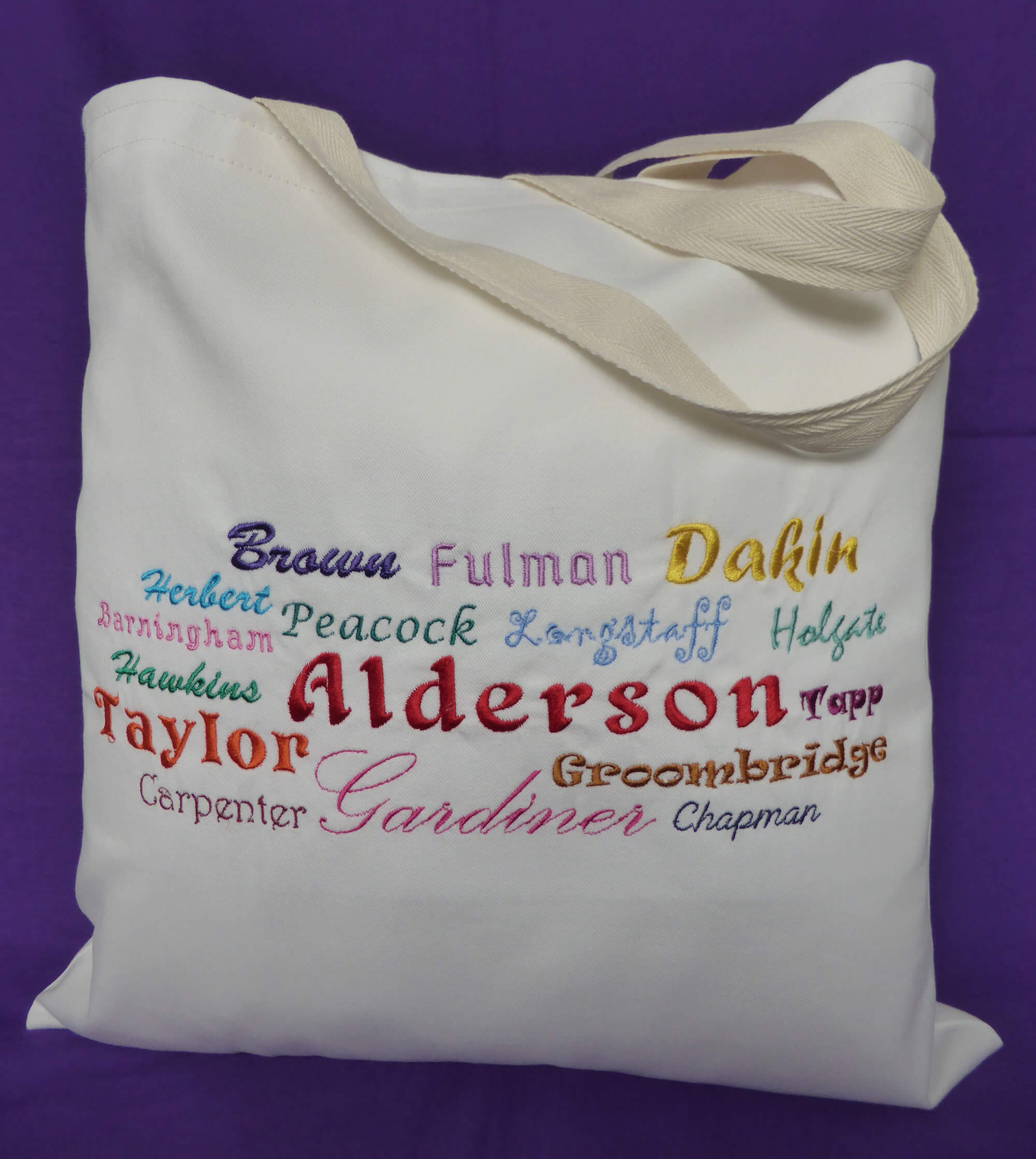 Ancestors' Surnames Bag (embroidered)