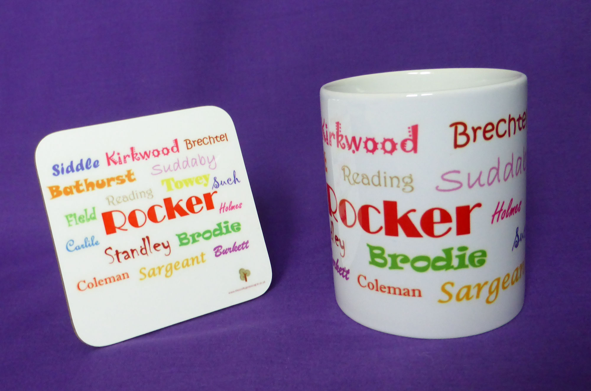 Ancestors' Surnames Mug and Coaster Set