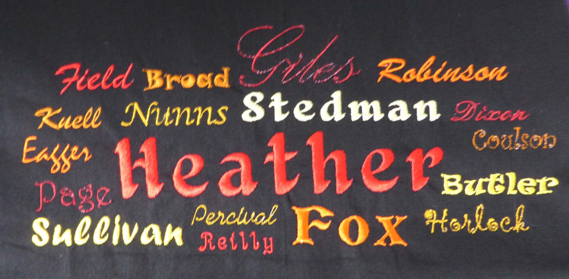 Heather apron close up