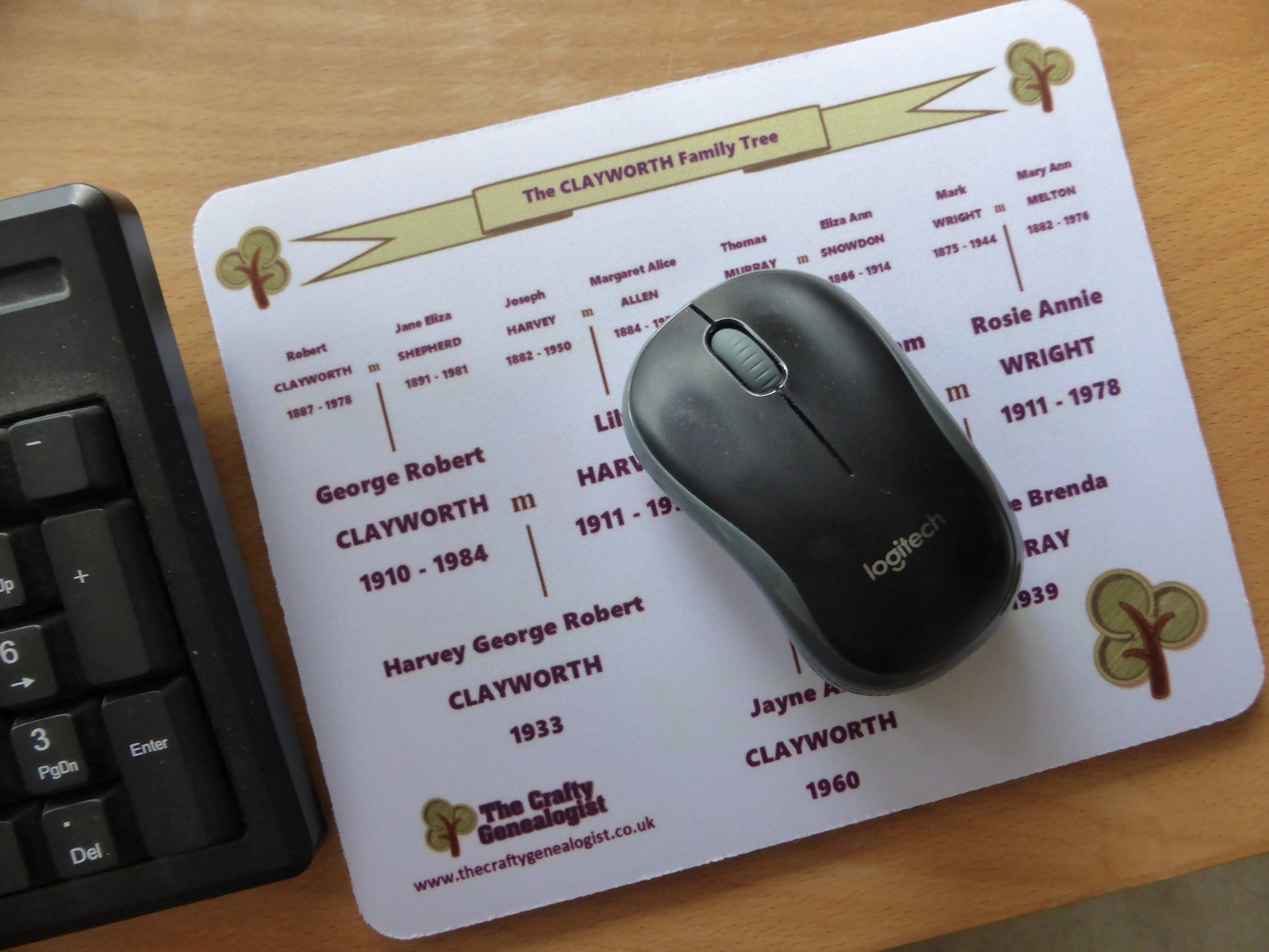 Family Tree Mouse Mat on desk