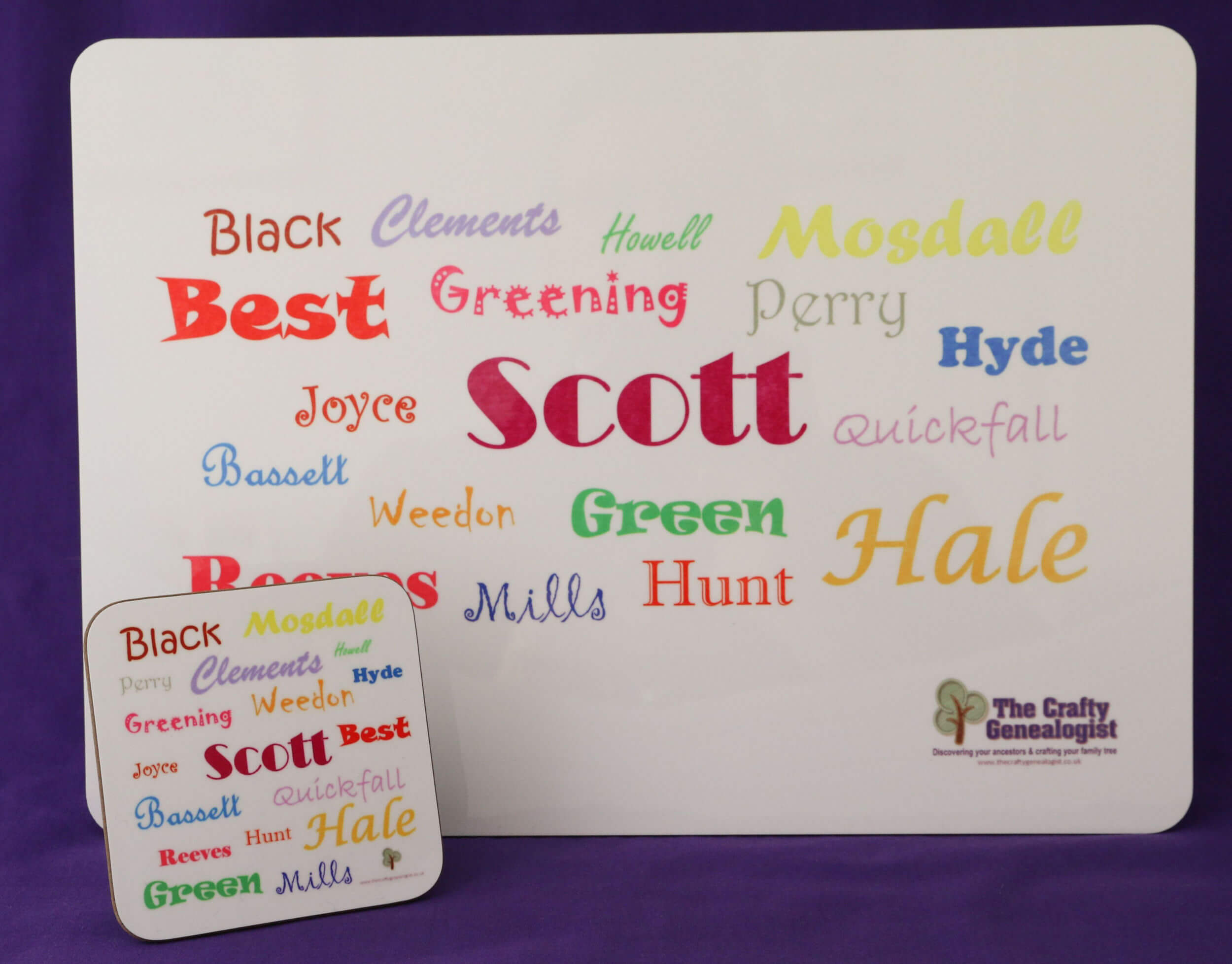 Ancestors' Surnames Table Mat and Coaster