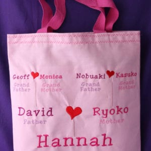 Child's Family Tree Bag with handles (embroidered)