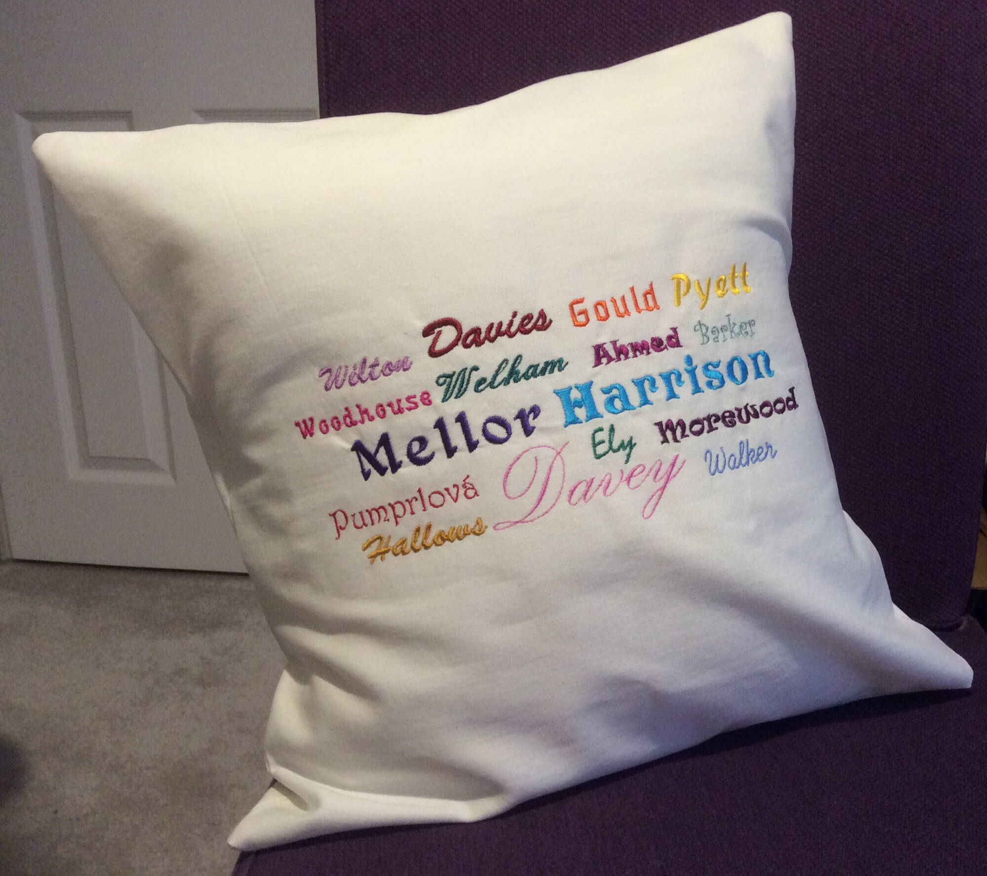Ancestors' Surnames Cushion Cover (embroidered)
