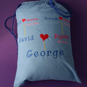 Child's Family Tree Bag with drawstrings (embroidered)