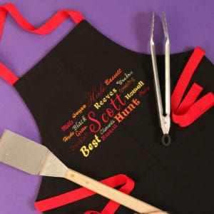 Ancestors Apron embroidered with the 16 surnames of your great, great grandparents