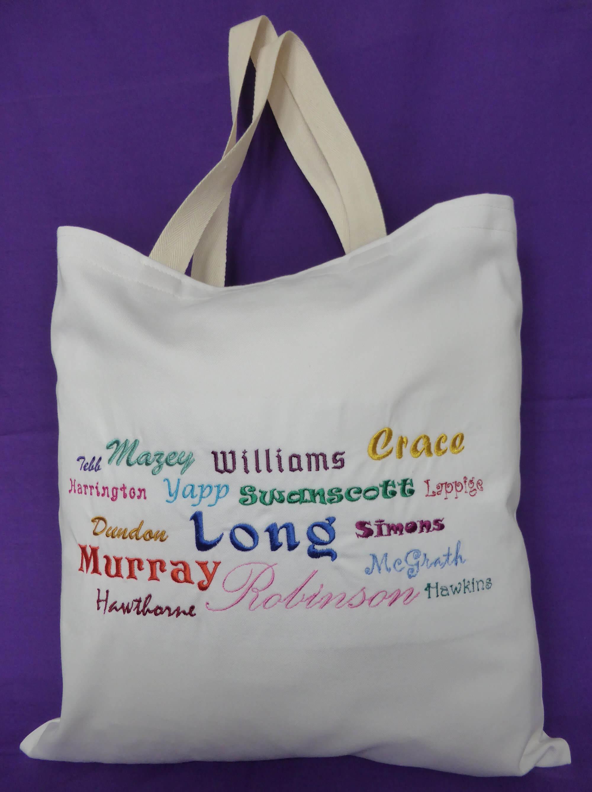 Ancestors' Surnames Bag (embroidered)
