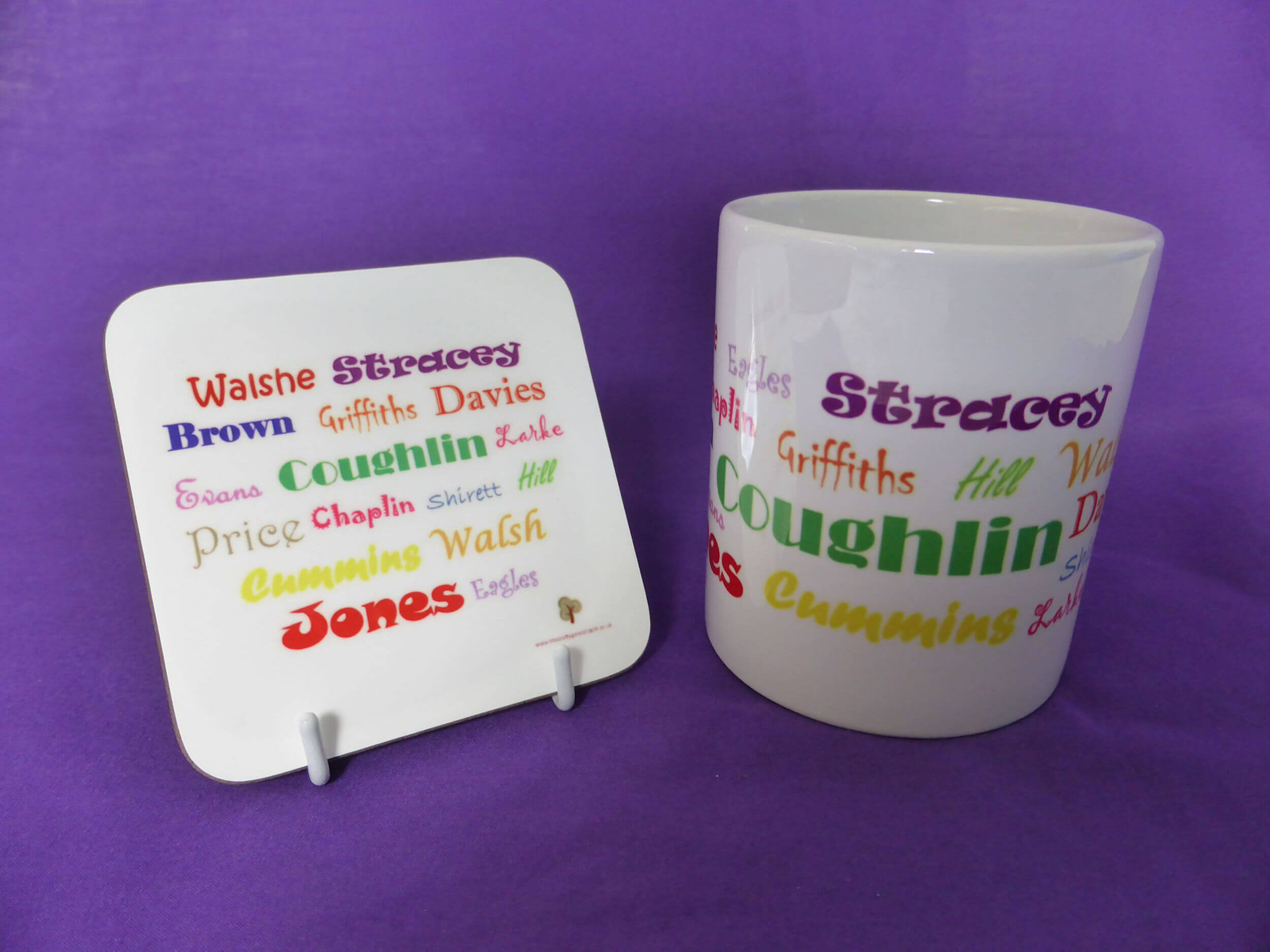 Mug and coaster with your ancestors' surnames make great family history gifts.