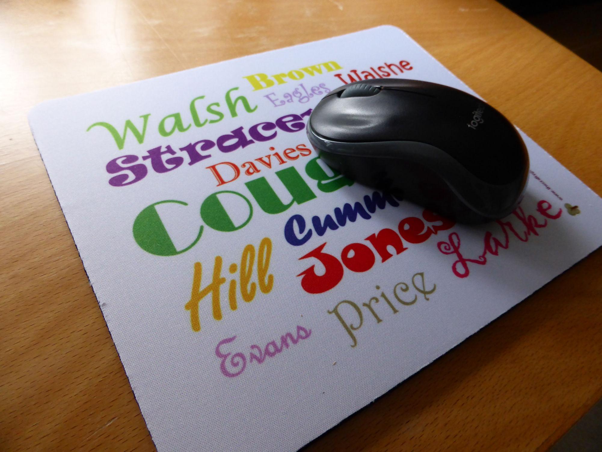 Ancestors' Surnames mouse mat